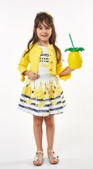 Ebita Summer Three Piece Skirt Set Yellow