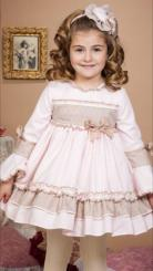Bea Cadillac 'Linde' Girls Winter Dress Beige and Pink 17863