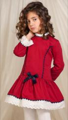 Petit Bebe 'Adele' Girls Spanish Winter Burgundy Dress 17652