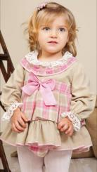 Petit Bebe 'Lozere' Beige Winter Spanish Dress With Bonnet & Pantees 17690