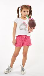 Ebita Summer T-shirt And Short Set Cerise