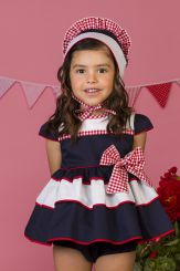 Petit Bebe 'Lobelia' Navy And Red Summer Spanish Baby Dress & Panties 18110