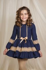 Petit Bebe 'Gardon' Girls Winter Spanish Navy Dress 17732