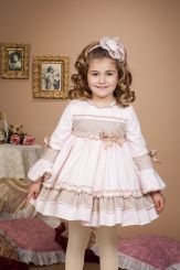Bea Cadillac 'Linde' Girls Winter Spanish Dress Beige and Pink 17863