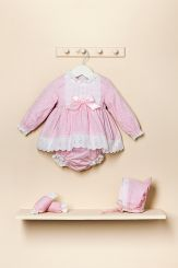 Petit Bebe 'Meiko' Spanish Winter Baby Dress With Bonnet & Panties 18529
