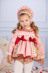 Petit Bebe 'Rukia' Spanish Winter Baby Dress With Bonnet & Panties 18640