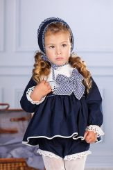 Petit Bebe 'Sakura' Spanish Winter Baby Dress With Bonnet & Panties 18650