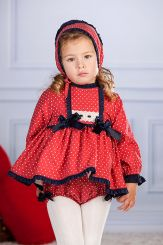 Petit Bebe 'Usagi' Spanish Winter Baby Dress With Bonnet & Panties 18670