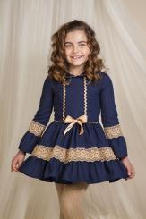 Petit Bebe 'Gardon' Girls Winter Navy Dress 17732