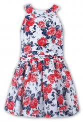 Sarah Louise Summer Red And Navy Floral Dress 010832