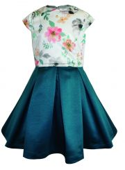 Little Lord & Lady Aria Coral Poppy & Jade Dress With Headband