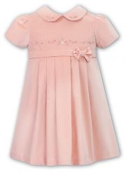 Sarah Louise Winter Velvet Dress In Pink 040011