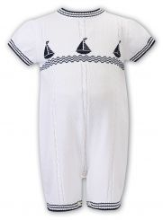 Sarah Louise Boys Summer Knitted Romper Yachts 008147