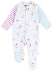 Piccalilly Floral Stripe Footed Sleepsuit