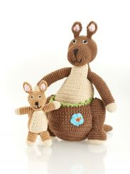 Best Years Pebble Cotton Crochet Kangaroo With Baby Joey