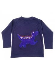 Seesaw Long Sleeved T-shirt Navy Blue Dino Brown Scales