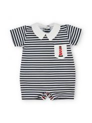 Sardon Spanish Navy And White Stripe Romper With Lighthouse 20BB-674