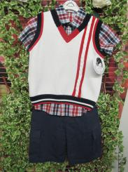 Sarah Louise 3 Piece Boys Shirt Short and Tank Top White 010385