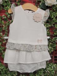 Patachou Girls T-shirt & Bloomer Set Cream