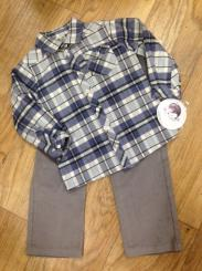 Sarah Louise Checked Shirt & Grey Trouser Set 9549