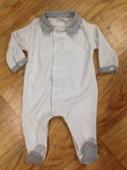 Patachou Boys Velour Babygrow With Patterned Collar