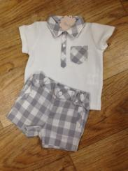 Patachou Boys Polo Top & Check Short Set