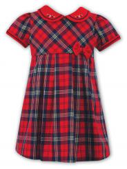 Sarah Louise Short Sleeved Winter Tartan Red Check Dress 011021