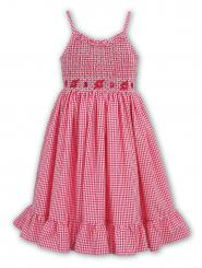 Sarah Louise Dress Shoe String Strap Gingham Cerise & White 9342