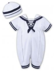 Sarah Louise Summer Sailor Romper & Hat White/Navy 010813