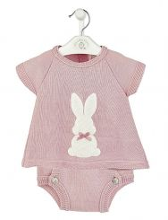 Dandelion Knitted Bunny Top & Pants Dusky Pink A3593