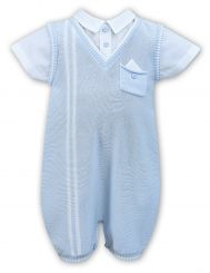 Dani By Sarah Louise Boys Summer Knitted Romper Pale Blue With Stripe D09336