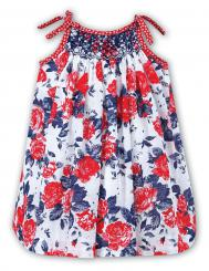 Sarah Louise Shoe String Strap Floral Red Dress 010829