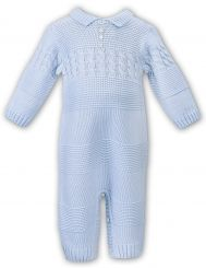 Sarah Louise Winter Boys Knitted Pale Blue Romper 008107