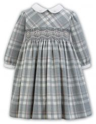 Sarah Louise Winter Grey Checked Dress With Smocking 011374
