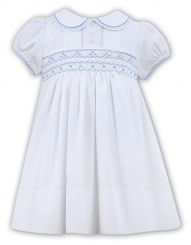 Sarah Louise Summer White & Pale Blue Embroidered Dress 011446