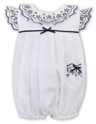 Sarah Louise Girls Summer Bubble In White With Navy Detailing 011877