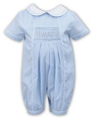 Sarah Louise Boys Summer Romper Pale Blue With Smocking 011443