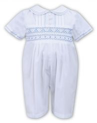 Sarah Louise Boys Summer Romper White & Pale Blue 011445