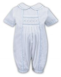 Sarah Louise Heritage Collection Boys Summer Romper White With Smocking C3000