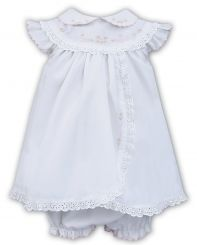 Sarah Louise Summer White Dress & Pants With Pink Embroidery 011457