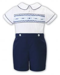 Sarah Louise Boys Summer Navy Two Piece Set Smocked 012296