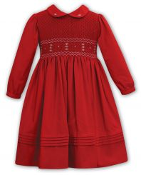 Sarah Louise Winter Red Dress With Full Smocking 012172