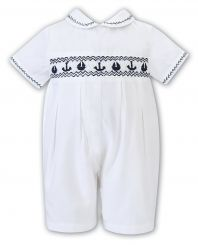 Sarah Louise Boys Summer White With Navy Anchor Embroidery 012201