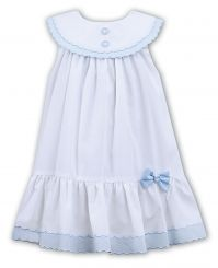 Sarah Louise Sleeveless Summer Dress White With Pale Blue Bow 011572