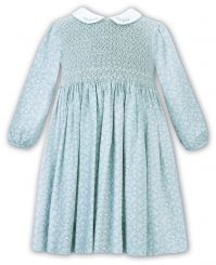 Sarah Louise Winter Dress Green Patterned With Full Smocking And Collar 011691