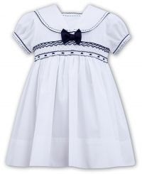 Sarah Louse Summer Sailor Smocked Dress With Navy 011504