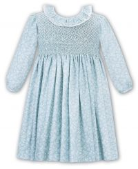 Sarah Louise Winter Dress Green Patterned With Full Smocking 011690