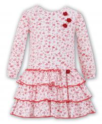 Sarah Louise Red Floral Winter Dress 010560