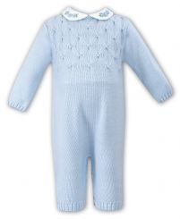 Sarah Louise Girls Pale Blue Knitted Romper With Beads 008051
