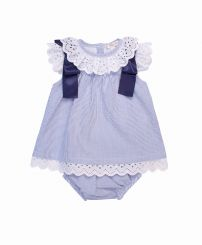 Mintini Baby Navy & White Stripe Dress With Panties MB1844